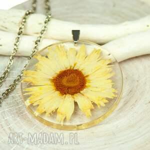 naszyjnik z suszonymi kwiatami, herbarium jewelry, kwiaty w żywicy z219 - kwiaty w