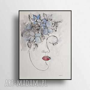 twarz-minimalizm-akwarela formatu 24/32 cm, akwarela, tusz, kwiaty, abstrakcja