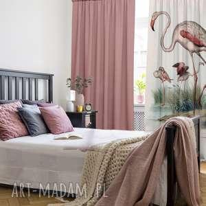 handmade dekoracje zasłony kotary bawełniane 2 szt z nadrukiem flamingos