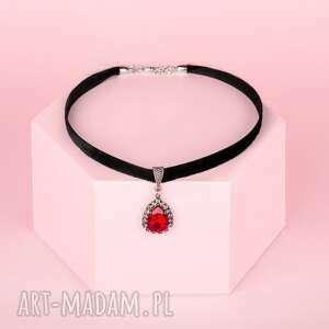 wyjątkowy prezent, choker - black red, choker, aksamitka, szkło naszyjniki