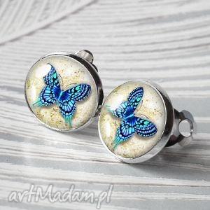 klipsy motylki błękitne, klipsy, motyl, niebieski, romantyczny, małe, okrągłe