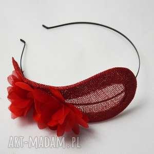 ozdoby do włosów czerwony fascynator, sinamay, jedwab, unikalny prezent