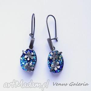 kolczyki srebrne - druza blue and aquamarine ii, biżuteria, srebro, kolczyki