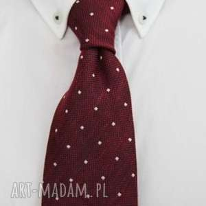 unikalny, krawat regular #33, dodatki, krawat, czerwony, kropki