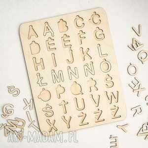 układanka alfabet - polskie znaki, montessori, alfabet, litery, drewniane