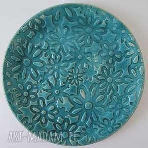 handmade ceramika turkusowa kwiecista patera