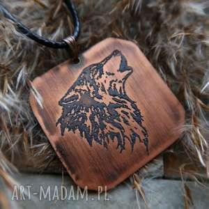 Wisior z trawionej miedzi - Wilk [008], wilk, wyjący, wilki, naszyjnik, wisior, miedź