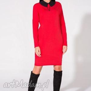 Sukienka 2w1 z kołnierzykiem w komplecie, T142, czerwona, sukienka, dzianina, bawełna
