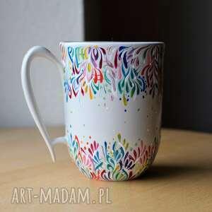 Kubek ceramiczny ręcznie malowany multikolor kubki ciepliki