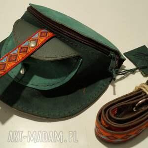 skórzana nerka odcienie zieleni aztecka 3, aztecki pasek, etno wzór, folkowy