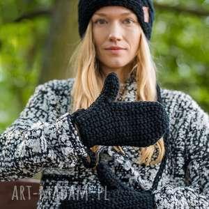 Rękawiczki elegancki czarny brain inside rękawiczki, zimowe