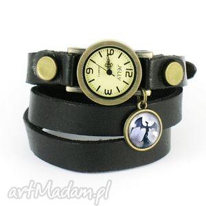 bransoletka, zegarek - smok cienia czarny, skórzany