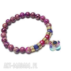 mosaic purple /26-07-19/-bransoletka, jaspis cesarski, perły, majorka, żywica
