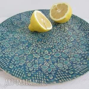 koronkowa patera ceramiczna - talerz, dekoracyjny, ceramiczny, koronkowy, ceramika