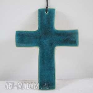 turkusowy krzyżyk ceramiczny, na-chrzciny, prezent, komunia, upominek, krzyż