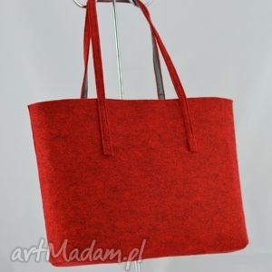 duża bordowa torebka z filcu- minimalistyczna- a4, filc, filcowa, minimalizm