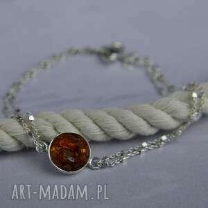 handmade delikatna bransoletka z bursztynem (koło) srebro