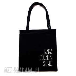 Czarna torba na ramię z hasłem, mocna szoperka kieszonką kropka