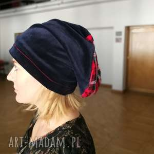 czapka granatowa ze szkocką kratą niby aksamitka damska, czapka, etno, boho