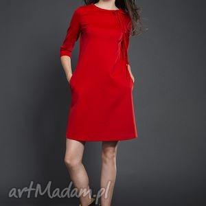 trapezowa sukienka z kokardką, sukienka, trapezowa, kokardka, valentimo ubrania