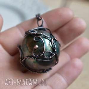 green sphere - naszyjnik z kulą, wisior kula, zielona kula