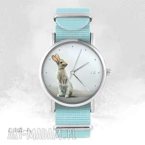 hand made zegarki zegarek - zając - niebieski, nato