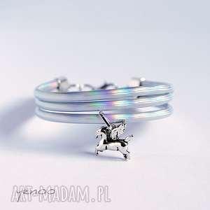 bransoletka - pegaz holograficzna, bransoletka, rzemienie