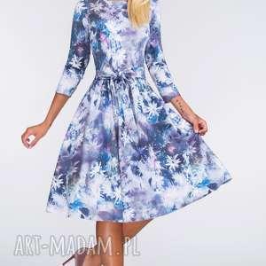 Sukienka MARIE 3/4 Midi Camillia, kwiaty, sukienka, midi, pasek, wizanie, kokarda