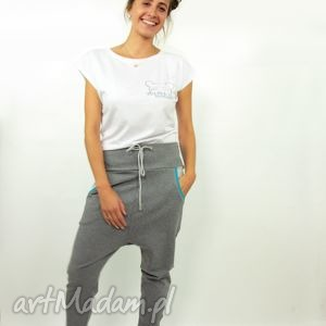 spodnie szarave damskie - baggy pants, damskie, dresowe, yoga, zumba