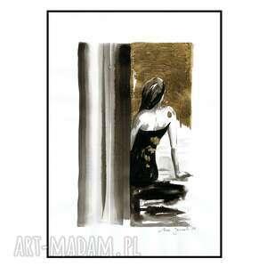 grafika z serii uwikłane w emocje, kobieta, abstrakcja, złote, złocenie