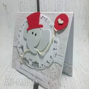 handmade scrapbooking kartki zaproszenie / kartka szarości z czerwienią i słonik w dodatku