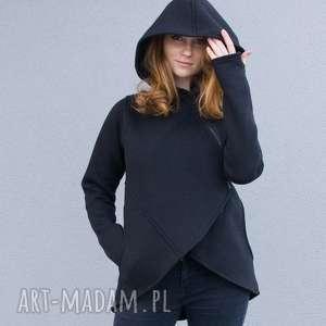 handmade bluzy bluza damska, czarna asymetryczna basa