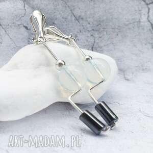 handmade klipsy srebrne długie awangardowe