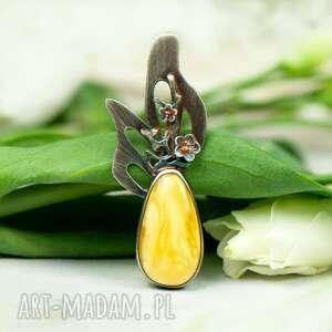 srebrny wisior z opalem zdobiony kwiatami a577, opalem, biżuteria