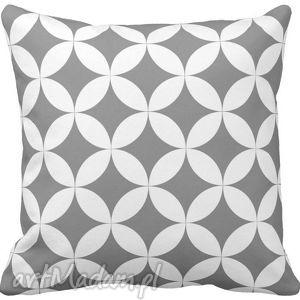 Poduszka ozdobna dekoracyjna szaro-białe figury geometryczne 6583, minimalistyczna