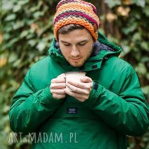 explorer jesień, kolorowa, czapka, dla mężczyzn, ciepła, wełniana, z polski