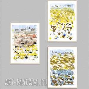 ręcznie wykonane prace a4 x 3 pejzaż, abstrakcja, grafiki, obraz, akryl, pejzaż