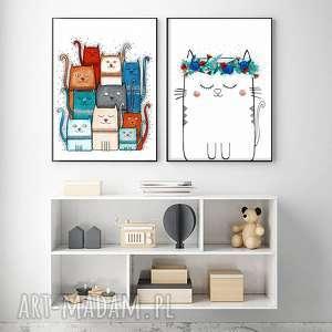 zestaw 2 prac a3, kot, koty, kotek, plakat, rysunek, grafika, świąteczny prezent