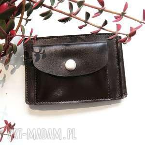 handmade portfele banknotówka skórzana z klipsem brązowa