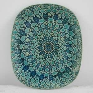 święta, turkusowy owalny talerz, talerz ceramiczny, dekoracyjna, patera