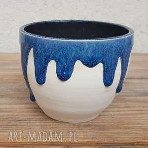 Miseczka ze ściekającym szkliwem, miseczka, wazon, ceramika, glina, rękodzieło
