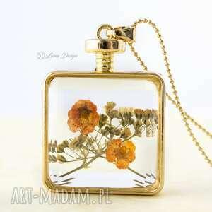 suszony kwiat we szkle - naszyjnik - kwiaty, suszone, szklany, wisior, naturalny, prezent