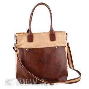 na ramię fiella - duża torba beż i brąz, modna, pojemna, elegancka, klasyczna