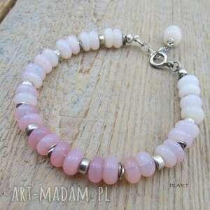 Różowy opal -bransoletka z przekładkami irart opal,