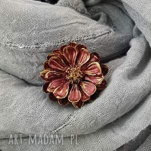 handmade broszki 1280/mela broszka z żywicy kwiat, brązowe bordo