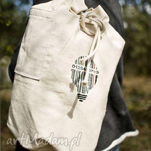 handmade plecaki plecak, worek bawełniany, haft kod kreskowy/ żarówka