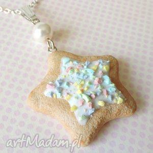 Kolorowa gwiazdka naszyjniki kazik z mazur kawaii, ciastko