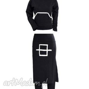 spodnie b w komplet, spódnica, spodnie, bluza, kaptur, wyszczuplający