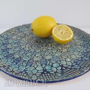 koronkowa patera ceramiczna, dekoracyjna, talerz, ceramiczny, koronkowy, z koronką