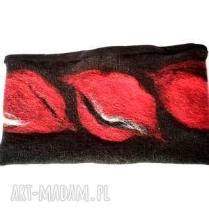 hand-made opaski czarna ciepła wełniana opaska filcowana zimowa